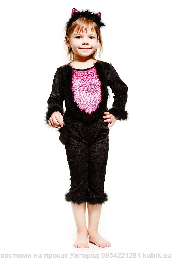 костюм дитячий Чорна кішка на прокат на хеловін вечірку