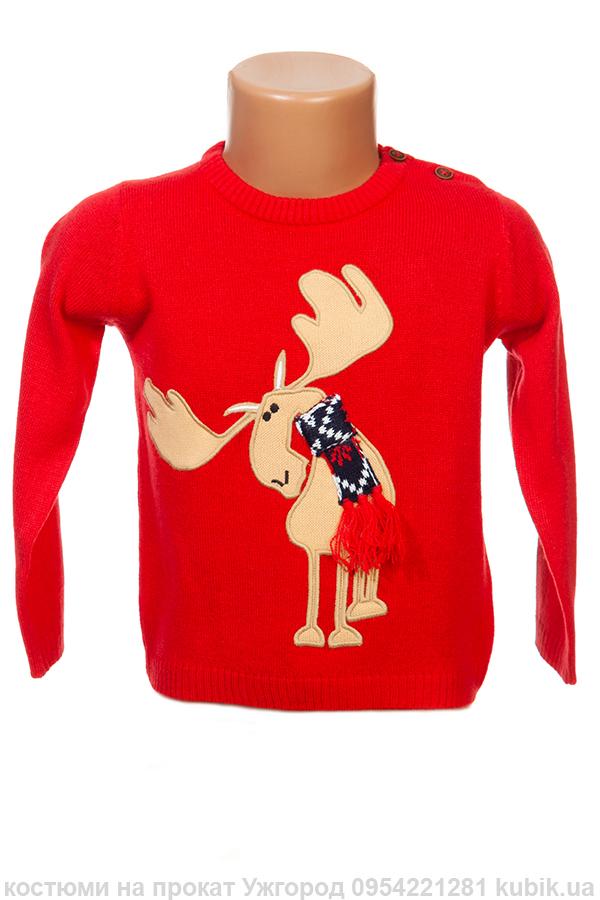 Червоний новорічний светр (1-2 роки)
